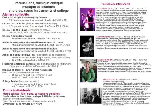 Flyer semaine musicale verso